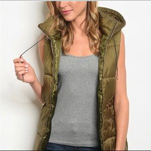 Jackets & Blazers - ONLY 3 LEFT Hooded Puffy Vests in olive green